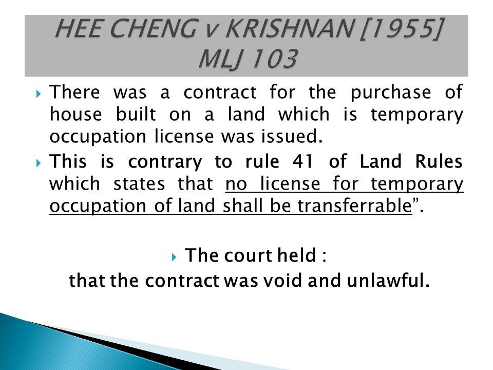 HEE CHENG v KRISHNAN [1955] MLJ 103